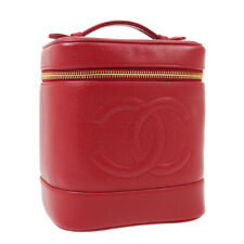 CHANEL CC Cosmetic Vanity Hand Bag 3812829 Purse Red Caviar Skin Leather AK45080