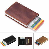 Genuine Leather Cowhide ID Credit Card Holder Wallet RFID Blocking Slim Purse