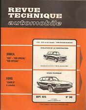 REVUE TECHNIQUE AUTOMOBILE 348 RTA 1975 FORD CAPRI II 1300 1600 SIMCA 1301 1501