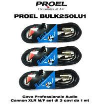 Proel BULK250LU1 Cavo per Microfono Casse cannon xlr M/F set di 3 cavi da 1 mt
