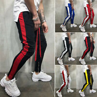 Mens Gym Skinny Fit Trousers Tracksuit Bottoms Striped Joggers Sweat Track Pants