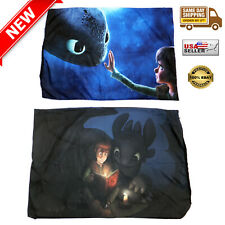 """2 Set TOOTHLESS & HICCUP Throw Pillow Case 19"""" x 28"""" - Printed on BOTH SIDE- NEW"""