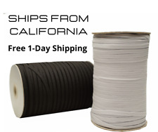 "1/4"" Inch 6mm Black White Flat Braided Elastic Stretch String Cord"