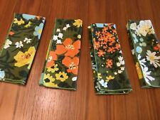 vintage 60s MOD cloth napkins flowers, set 4