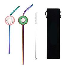 2pcs Reusable Fruit Stainless Steel Drinking Straws with Maintainers Set Kit