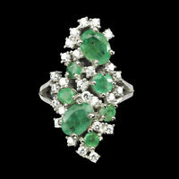 Unheated Oval Emerald 7x5mm Natural Cubic Zirconia 925 Sterling Silver Ring Sz 7