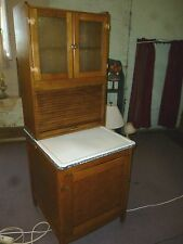 Antique Oak Hoosier Cabinet 1/2 size Kitchen cupboard frosted pattern glass
