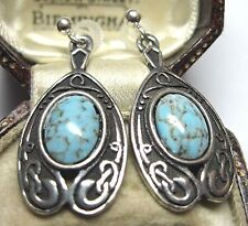VINTAGE DESIGN SIGNED MIRACLE CELTIC ART NOUVEAU TURQUOISE GLASS DROP EARRINGS