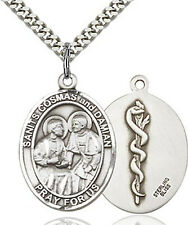 Doctor Sts Cosmas & Damian Sterling Silver Patron Saint Medal Necklace by Bliss