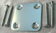 SMALL SQUARE CHROME NECK MOUNTING PLATE GUITAR OR BASS