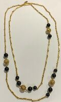 Retro Vintage Monet Signed Gold Tone Filigree Ball Black Beaded Long Necklace