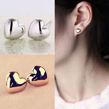 1 Pair Fashion Heart Gold Plated Ear Stud Earrings Charm Jewelry