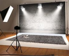 7x5Ft Retro Grey Brick Wall Lighting Stage Studio Backdrop Photography