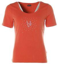 J2177 Bruno Banani Damen Rundhals T-Shirt mit Glitzer Steinen Orange 40
