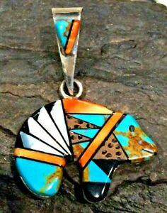 Native American Indian Jewelry Sterling Silver Spiny Oyster Bear Pendant