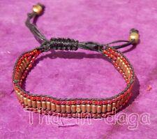Bracelet Unisexe Bras ou cheville Ajustable Perles de Laiton Artisanat Inde 5x4