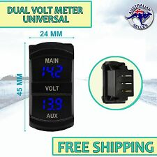 Dual Battery Digital Volt Meter Gauge Carling ARB type Rocker Size BLUE