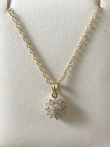 """9ct Yellow Gold Round Diamond Cluster Pendant 0.25ct With 16"""" Chain"""