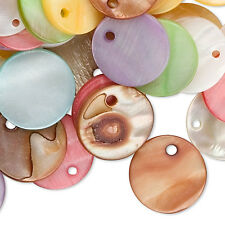 20 Assorted Color 15mm Flat Round Mother Of Pearl Shell Coin Drop Charm Beads