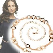 Womens Metal Crystal Waist Chain Belt Gold Rhinestone Buckle Body Chain wl