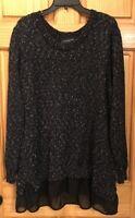 Women's Lane Bryant Crew Neck Long Sleeve Black/White Long Knit Sweater, 22/24