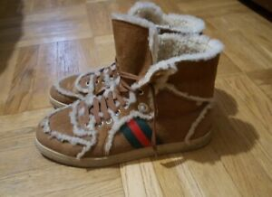 Gucci Boots Womens Hight-top Suede Beige Shoes sz. us 9 uk 8 eu 42