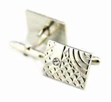 Gift Bag + Silver Plated Vintage cuff links Crystal Rectangle Cufflinks RCT05