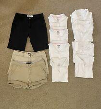 New listing Girls School Uniform Bundle: 8 white polos, 3 Shorts (2 Khaki, 1 Black)