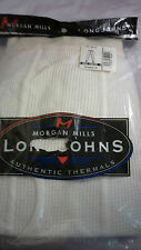 2 MORGAN LONGJOHN PANTS 3X 50-52 THERMAL UNDERWEAR  WHITE MENS DRAWER