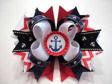 """SEA ANCHOR Patriotic Handmade Boutique Stacked Bottle Cap Hair Bow 5"""" x 4.5"""""""