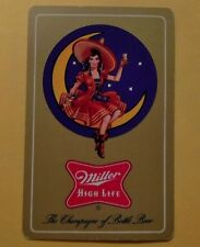Mid Modern Ad 1956 Miller Champagne of Beer Swap Playing Card-Pretty Lady Moon