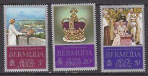 1977 Bermuda Queen Elizabeth 11 Silver Jubilee set of 3 mint stamps