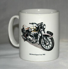 Motorbike Mug. Ariel Square Four & Badge hand drawn illustrations.