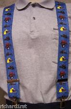 """Suspenders 2""""x48"""" FULLY Elastic Farm Tractors red on blue NEW"""