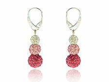 Shamballa 3 Sizes Disco Balls Rose, Light Pink & White Drop Earrings E439