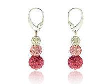 Shamballa 3 Sizes Disco Balls Rose, Light Pink & White Drop Earrings E439
