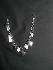 B006 STAINLESS STEEL EFFECT HEARTS, CHAIN & IVORY SHELL HEARTS 22CM BRACELET NEW