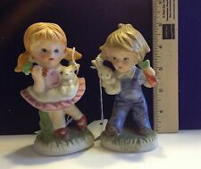 Vintage Bisque Figurines, Boy & Girl with Bunnies