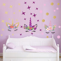 Creative Unicorn Stars Wall Stickers For Girls Bedroom Flowers Wall Decals 2_7