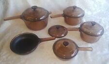 9 Pc Corning Pyrex Visions Ware Amber Brown Cookware Glass Pot Sauce Pans Set