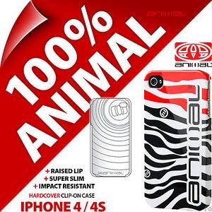 Animal Zebra Hard Case Slim Gloss Back Clip Cover Shell for Apple iPhone 4 / 4S