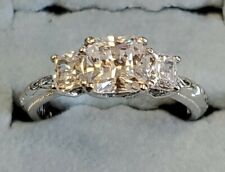 Stone Clear Cz Engagement Ring Size 7 Tacori Sterling Silver 925 Cushion Cut 3