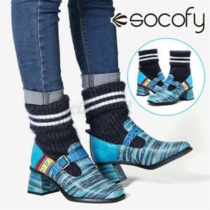 SOCOFY Womens Bohemian Strips Leather Socks Boots Metal Buckle High Heel Shoes
