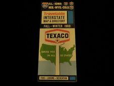 Vtg 1969 Texaco Gas Fall-Winter IL IA NE WY CO Interstate Road Map & Directory