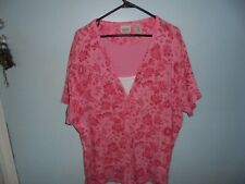 classic elements womens pink floral,  24/26w blouse, blouse, casual dress blouse