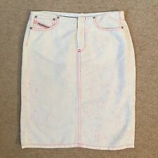 DIESEL cream and hot pink cotton pencil skirt - UK 8 - Immaculate  - £130