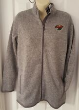 MINNESOTA WILD COAT JACKET SWEATER STYLE FLEECE LINED EMBROIDERED WOMENS LARGE