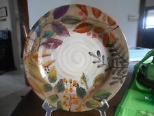 """Shadowwood Dinner Plate 11 1/4"""" Home Trends Ceramic Brown Green Tan Orange !"""