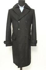 Belstaff Double Breast Black Removable Shearling Collar Coat Sz Medium 38R