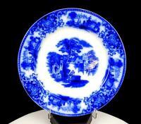"W.H. GRINDLEY & CO ENGLAND FLOW BLUE SHANGHAI PATTERN 8 3/4"" PLATE 1891-1914"